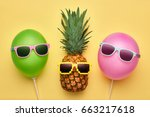 fashion pineapple and pink air... | Shutterstock . vector #663217618