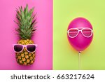 fashion pineapple and pink air... | Shutterstock . vector #663217624