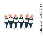male chorus in action. vector... | Shutterstock .eps vector #663219184
