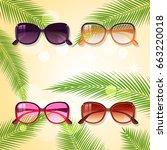 women's sunglasses set  summer... | Shutterstock .eps vector #663220018