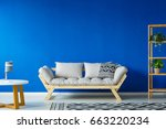 blue spacious living room with... | Shutterstock . vector #663220234