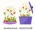 vegetable plate. vegetable pan. ... | Shutterstock .eps vector #663222238