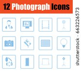 photography icon set. blue...