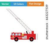 fire service truck icon. flat...