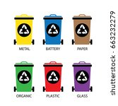 vector trash categories recycle ...   Shutterstock .eps vector #663232279