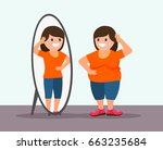fat woman and mirror. fat woman ... | Shutterstock .eps vector #663235684