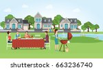 group of people enjoying party... | Shutterstock .eps vector #663236740