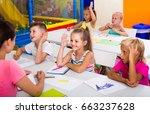 little european  children... | Shutterstock . vector #663237628