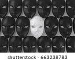 smiling white mask among black... | Shutterstock . vector #663238783