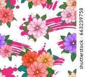 vector flowers watercolor...   Shutterstock .eps vector #663239758