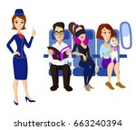 passengers and stewardess | Shutterstock .eps vector #663240394