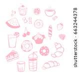 vector simple pink set of... | Shutterstock .eps vector #663244378