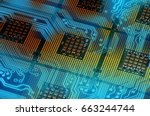computer processors and blue... | Shutterstock . vector #663244744