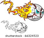 an angry baseball leaves flames ... | Shutterstock .eps vector #66324523