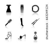 women's accessories drop shadow ...   Shutterstock .eps vector #663249124