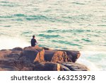 man meditating on a rock at the ... | Shutterstock . vector #663253978