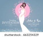 wedding invitation. bride in... | Shutterstock .eps vector #663254329
