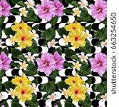 seamless vector tropical... | Shutterstock .eps vector #663254650
