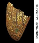 Small photo of Cheek Piece Staffordshire Hoard, largest hoard of Anglo-Saxon gold ever found