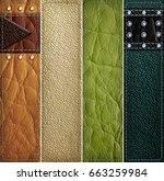 leather banner set 3d... | Shutterstock . vector #663259984