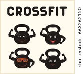 crossfit icon. kettlebell with... | Shutterstock .eps vector #663262150