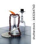 art composition of glasses on... | Shutterstock . vector #663264760