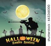 halloween zombie hunter with...   Shutterstock .eps vector #663268300