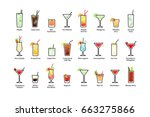 popular alcoholic cocktails... | Shutterstock . vector #663275866