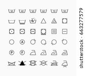 laundry and drycleaning symbols ... | Shutterstock . vector #663277579