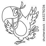 outlined happy parrot dancing.... | Shutterstock .eps vector #663278236