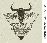 skull of bull on mountains... | Shutterstock .eps vector #663279259