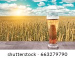 glass of cold beer at sunset on ... | Shutterstock . vector #663279790