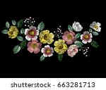 fashion vector embroidery with... | Shutterstock .eps vector #663281713