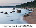 Stones On The Sand Beach At Th...