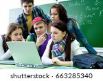 group of young students... | Shutterstock . vector #663285340