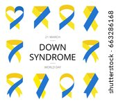 yellow and blue ribbon in flat... | Shutterstock .eps vector #663286168