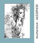 "graphic illustration ""angel... | Shutterstock .eps vector #663289630"