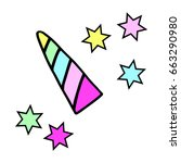 unicorn horn in rainbow colors... | Shutterstock .eps vector #663290980