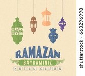 flat style happy ramadan kareem ... | Shutterstock .eps vector #663296998