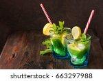 summer fresh drink. lemonade... | Shutterstock . vector #663297988