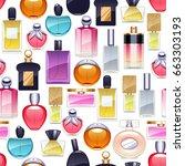 perfume bottles icons seamless... | Shutterstock .eps vector #663303193
