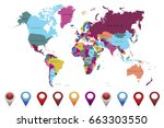 world map countries vector. set ... | Shutterstock .eps vector #663303550