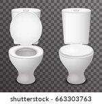 isolated toilet ceramic seat... | Shutterstock .eps vector #663303763