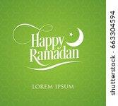 happy ramadan vector with moon...   Shutterstock .eps vector #663304594