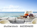 summer background of free space ... | Shutterstock . vector #663304600