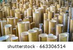 a pile of cut wood for... | Shutterstock . vector #663306514