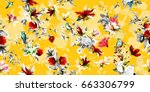 Stock vector wide vintage seamless background pattern flowers wild rosemary pomegranate buds with humming bird 663306799