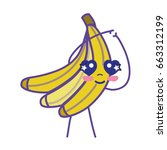kawaii cute happy banana fruit | Shutterstock .eps vector #663312199