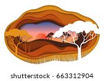 paper art carving with african... | Shutterstock .eps vector #663312904
