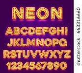 red fluorescent neon font on... | Shutterstock .eps vector #663316660